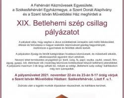 XIX. Betlehemi Szép Csillag  pályázat a Fehérvári Kézművesek Egyesülete szervezésében